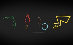 Обои pokemon, charmander fire, pikachu, хвосты покемонов, bulbasaur, squirtle