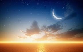 Картинка море, планета, звёзды