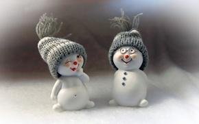 Картинка праздник, игрушки, снеговики