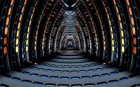 Картинка космос, фантастика, корабль, spaceship, корридор