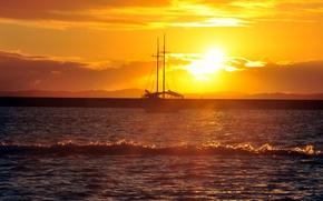 Картинка море, пейзаж, закат, корабль