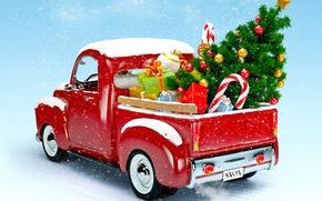 Картинка елка, Новый Год, Рождество, грузовик, christmas, new year, winter, snow