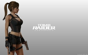 Картинка Девушка, Фон, Оружие, Tomb Raider, Underworld, Lara Croft