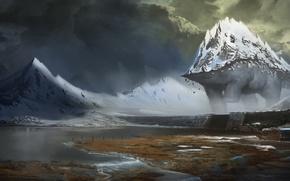 Картинка горы, тучи, река, динозавр, арт, сумерки, посёлок