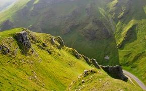 Обои горы, природа, дорога, трава, склоны, зелень, холмы, скалы