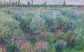 Картинка пейзаж, природа, картина, Клод Моне, Берега Сены в Ветей