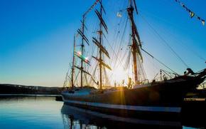 Картинка море, вода, пейзаж, настроение, Порт, Корабль, залив, Пристань, Мурманск, Седов