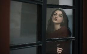 Картинка девушка, лицо, печаль, окно