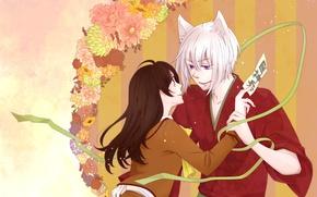 Картинка романтика, аниме, арт, Kamisama Hajimemashita, Томое, Нанами, очень приятно бог