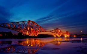 Картинка закат, мост, город, огни, отражение, вечер, шотландия