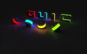 Картинка цвета, свет, полоски, абстракция, отражение, буквы, шар, свечение, подсветка, чёрный фон, яркость, слово