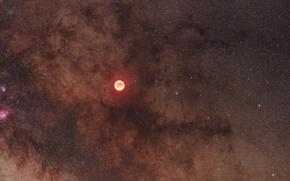Обои затмение, Млечный путь, Луна, звезды, туманности