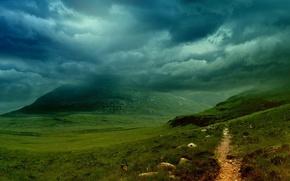 Картинка облака, гора, Тропа