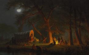 Обои люди, картина, повозка, ночлег, жанровая, Альберт Бирштадт, Орегонская Тропа