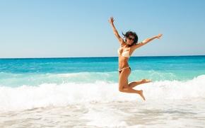 Картинка beach, water, pose, happiness, bikini, diving