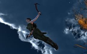 Картинка небо, девушка, полет, взрыв, огонь, игра, арт, Lara Croft, Tomb raider