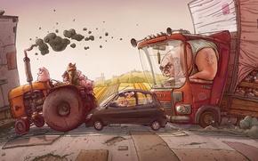Обои грузовик, поля, свиньи, пробка, трактор, дорога, машины, рисунок