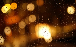 Картинка грусть, стекло, капли, ночь, город, огни, блики, дождь, настроение, размытие, боке, бегут, дождливый вечер, ручейки