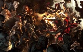 Картинка Marvel, Owl, Spider-man, ninja, Daredevil, Black Widow, Сорвиголова, Чёрная вдова, Человек паук, Филин, Bullseye, Kingpin, …
