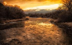 Картинка пейзаж, закат, природа, река