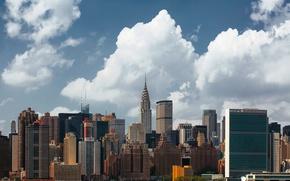 Обои облака, город, здания, США, Нью Йорк