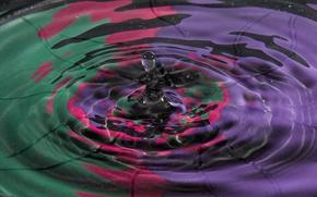 Обои вода, всплеск, капля, цвет, объем