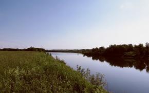 Картинка лето, трава, река, вечер