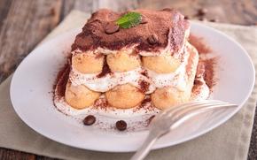 Обои торт, cream, dessert, десерт, сладкое, tiramisu, тирамису, sweet, пирожное