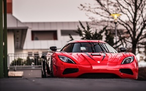 Картинка вечер, Koenigsegg, красная, AgeraR