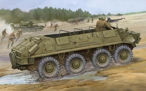 Картинка БТР, советский, бронетранспортер, плавающий, БТР-60П, базовая, учения., модификация