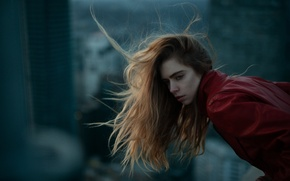 Картинка девушка, лицо, фон, ветер, волосы, Marta