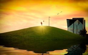 Картинка солнце, дом, отражение, шарик, холм, девочка