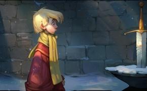 Картинка мультфильм, меч, мальчик, арт, меч в камне