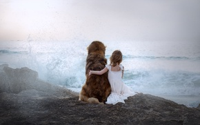 Обои море, собака, девочка