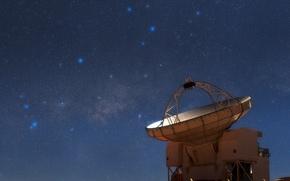 Обои Млечный путь, Стрелец, созвездие, Скорпион, звезды, радиотелескоп