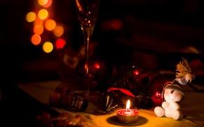 Картинка фон, праздник, игрушки, свеча