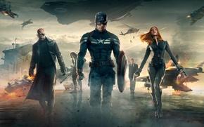 Обои Scarlett Johansson, Girl, Men, Guns, Marvel, Black Widow, Battleship, Natasha Romanoff, Chris Evans, Steve Rogers, ...