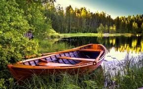Обои озеро, деревья, лодка, пейзаж, природа
