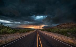 Обои дорога, асфальт, облака, тучи, шторм, природа, вечер, США, штат Техас
