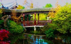 Обои зелень, мост, пруд, сад, США, кусты, Oregon, Portland, Chinese Garden