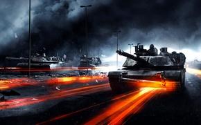Обои дорога, война, дым, танки, Battlefield 3