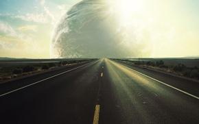 Картинка дорога, путь, мир, планета, чужой, прямая