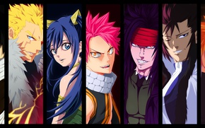 Картинка Natsu Dragneel, Gajeel Redfox, powerful, dragon slayer, oriental, asiatic, asian, man, Laxus Dreyar, subarashii, bishojo, ...