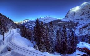 Обои Швейцария, Альпы, снег, горы, природа, зима, деревья, ели, домик, железная дорога