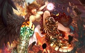 Картинка девушка, радость, магия, крылья, аниме, арт, reiuji utsuho, touhou, maningusu