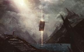 Картинка ночь, скалы, человек, луч, факел, desktopography