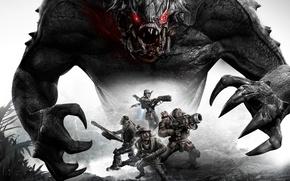 Картинка Монстр, Команда, Оружие, Голиаф, Пушки, 2K Games, Evolve, Goliath, Turtle RockStudios, Охотники