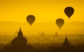 Картинка лес, солнце, полет, закат, воздушные шары, храм, forest, архитектура, sunset, дворец, old, старый город, architecture, …