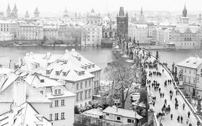 Картинка мост, Прага, Чехия, чб