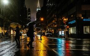 Картинка свет, ночь, город, люди, дождь, улица, Нью-Йорк, США